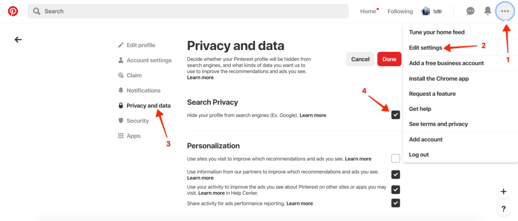 pinterest privacy settings