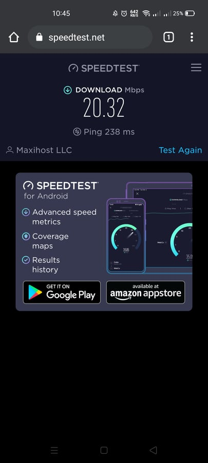 Betternet speed test