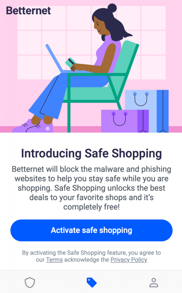 Betternet safe shopping